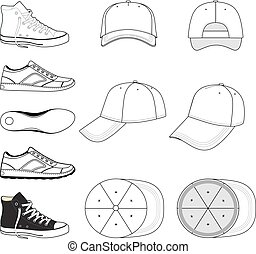 Sneakers & baseball cap set - Colored outlined sneakers &...