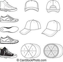 sneakers, boné, jogo, basebol, &