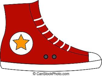 sneakers, branco vermelho, ilustração, vetorial, fundo