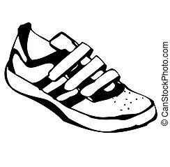 sneakers, caricatura, ilustração, sapato
