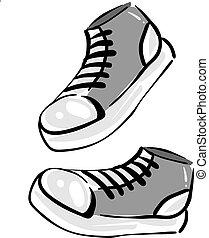 sneakers, cinzento, branca, ilustração, vetorial, fundo