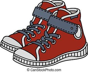 sneakers, crianças, vermelho