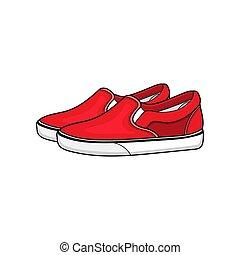 sneakers, desenho, vetorial, vermelho