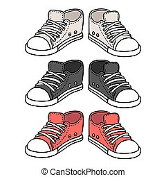 Sneakers drawing set. Black, red and white traditional sport...