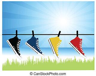 Sneakers hanging in the backyard