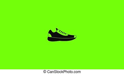 Sneakers icon animation best simple object on green screen background