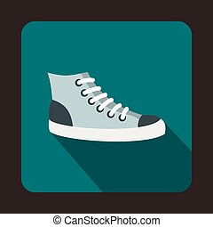 Sneakers icon, flat style