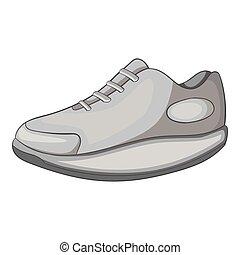 Sneakers icon, gray monochrome style