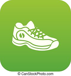 Sneakers icon green vector