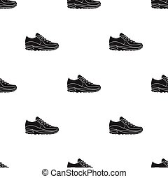 Sneakers icon in  black style isolated on white background. Shoes pattern stock vector illustration.