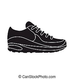 Sneakers icon in  black style isolated on white background. Shoes symbol stock vector illustration.