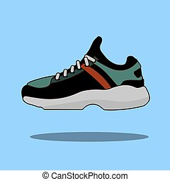 Sneakers icon in flat style isolated on blue background. Shoes symbol stock vector illustration.
