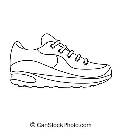 Sneakers icon in outline style isolated on white background. Shoes symbol stock vector illustration.
