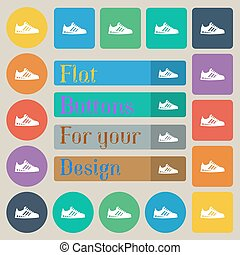 Sneakers icon sign. Set of twenty colored flat, round, square and rectangular buttons. Vector