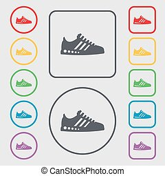 Sneakers icon sign. symbol on the Round and square buttons with frame. Vector