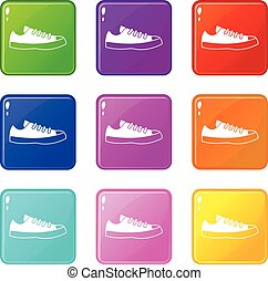 Sneakers icons 9 set