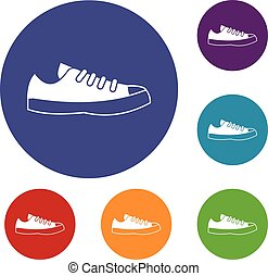 Sneakers icons set