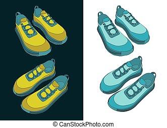 sneakers, ilustração, cor