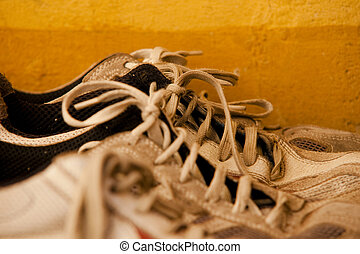 sneakers in a row with laces