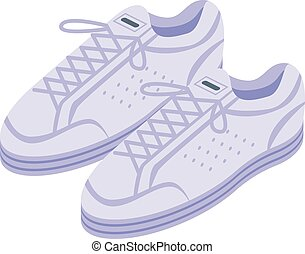 sneakers, isometric, modernos, ícone, branca, estilo