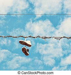 Sneakers on the power line, beauty filter