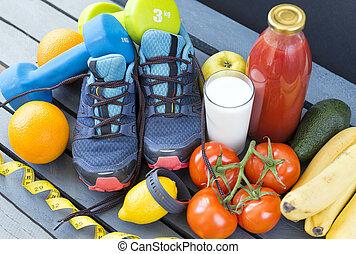 sneakers ,oranges, tomatoes, Apple, pear ,lemon, sports bracelet, bananas, milk, tomato juice , fruits and vegetables