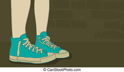 Sneakers - Pair of doodle sneakers on grunge background with...