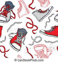sneakers., pattern., schoentjes, seamless