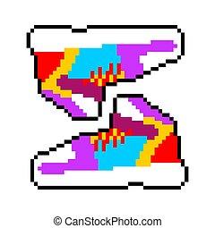 Sneakers Pixel Art Sports Shoes 8 Bit Vector Illustration