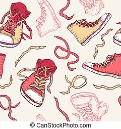 Sneakers. Shoes Seamless pattern.