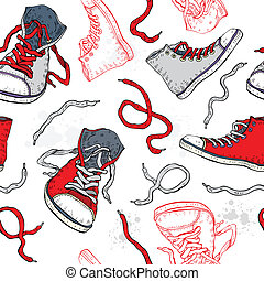 Sneakers. Shoes Seamless pattern. - Sport shoes. Sneakers. ...
