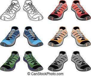 Black outlined & colored sneakers shoes set front view, vector illustration isolated on white background