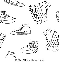 Sneakers sketch vector pattern, active shoes
