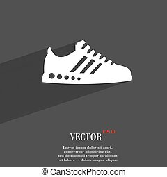 Sneakers symbol Flat modern web design with long shadow and space for your text. Vector