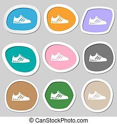 Sneakers symbols. Multicolored paper stickers. Vector