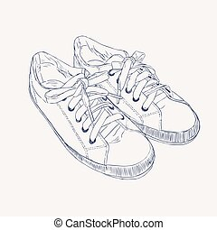 Sneakers. Vector hand drawn illustration. Sketch style