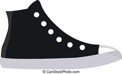 sneakers, vetorial, branca, pretas, ilustração, experiência.