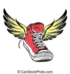 Sneakers with wings isolated on white background, hand...