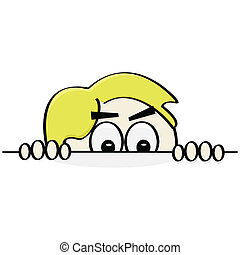 Sneaky boy - Cartoon illustration showing a boy sneaking up...