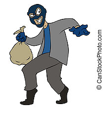Sneaky Cartoon Burglar - A sneaky cartoon burglar making off...