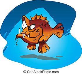 Sneaky Red Bass - Cartoon vector illustration of the Sneaky ...