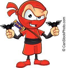 Sneaky Red Ninja Character - An illustration of a sneaky ...