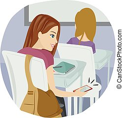 Sneaky Teen Girl Class Mobile - Illustration of a Teenage ...