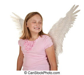sneaky young girl with angel wings