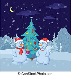snebolde, træ, jul