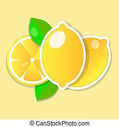 snede, citroen loof, fruit, fris, geheel