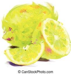 snede, citroen, tekening