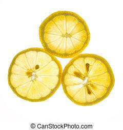 snede, citroen, vrijstaand, achtergrond, fris, witte