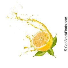 snede, citroen, vrijstaand, gespetter, achtergrond, witte