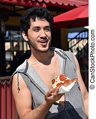 snede, eten, jonge, pizza man, vrolijke
